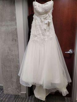 Aura Bridal White Size 16 Train Dress on Queenly