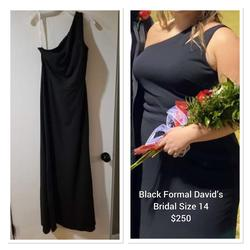 David's Bridal Black Size 14 Plus Size Straight Dress on Queenly
