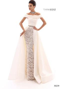 Style 50239 Tarik Ediz White Size 8 Train Dress on Queenly