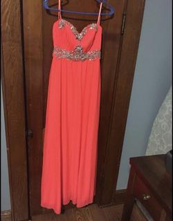 Queenly size 10  Orange A-line evening gown/formal dress