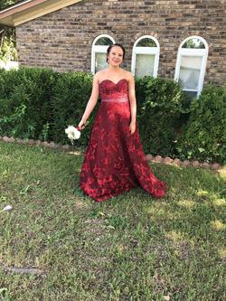 Jovani Red Size 8 Embroidery Sweetheart A-line Dress on Queenly