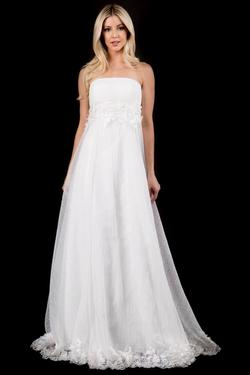 Style 2298 Nina Canacci White Size 4 Wedding Tall Height A-line Dress on Queenly