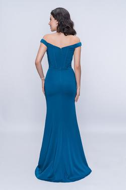 Style 1416 Nina Canacci Blue Size 10 Tall Height Mermaid Dress on Queenly