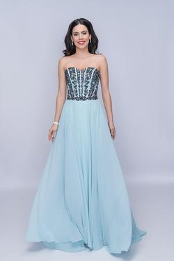 Style 3140 Nina Canacci Blue Size 4 Tall Height A-line Dress on Queenly