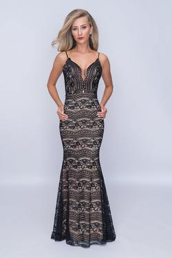 Style 4190 Nina Canacci Black Size 4 Plunge Tall Height Mermaid Dress on Queenly