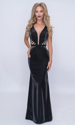 Style 6514 Nina Canacci Black Size 6 Plunge Tall Height Mermaid Dress on Queenly