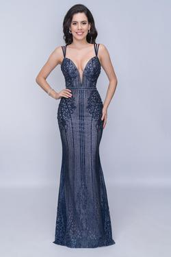 Style 8155 Nina Canacci Blue Size 00 Tall Height Lace Mermaid Dress on Queenly