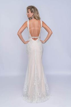 Style 8158 Nina Canacci White Size 00 Nude Tall Height Mermaid Dress on Queenly