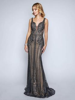 Style 8158 Nina Canacci Black Size 4 Nude Tall Height Lace Mermaid Dress on Queenly