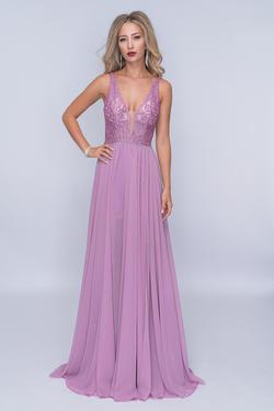 Style 8159 Nina Canacci Purple Size 4 Tall Height A-line Dress on Queenly