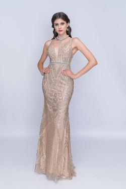 Style 8171 Nina Canacci Gold Size 00 Plunge Shiny Prom Mermaid Dress on Queenly