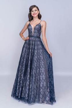 Style 8172 Nina Canacci Blue Size 2 Plunge Prom A-line Dress on Queenly