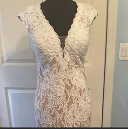 Jovani White Size 10 Wedding Train Dress on Queenly