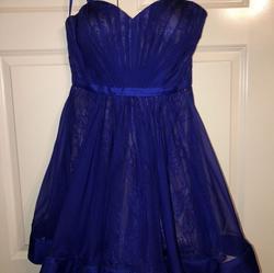 La Femme Blue Size 10 Sorority Formal Wedding Guest Cocktail Dress on Queenly