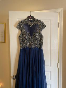 Jovani Blue Size 16 Prom Plus Size Straight Dress on Queenly