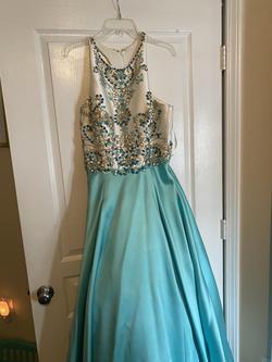 Rachel Allan Blue Size 16 Halter Ball gown on Queenly