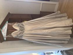 Mori Lee Nude Size 14 Flare Ivory Blue Ball gown on Queenly