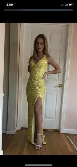 Mac Duggal Yellow Size 2 Plunge Side slit Dress on Queenly