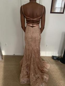 Style 2388 Jovani Pink Size 0 Plunge Mermaid Dress on Queenly