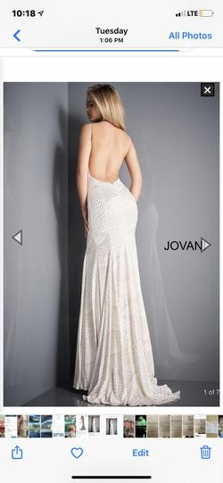 Jovani White Size 2 Backless Train Dress on Queenly