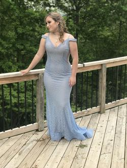 Jovani Blue Size 8 Jewelled Mermaid Dress on Queenly