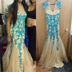 Style 1927 Sherri Hill Nude Size 4 Sleeves Turquoise Mermaid Dress on Queenly