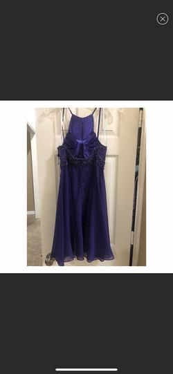 Jovani Purple Size 4 Halter Jewelled A-line Dress on Queenly