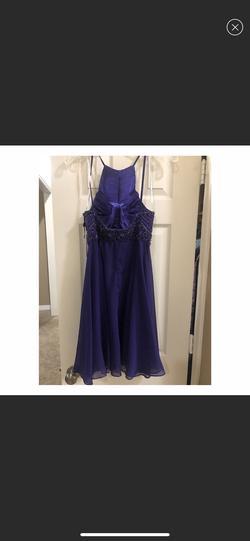 Jovani Purple Size 4 Halter A-line Dress on Queenly