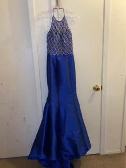 Madison James Royal Blue Size 0 Halter Mermaid Dress on Queenly