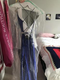 Sherri Hill Blue Size 00 Belt Silk Straight Dress on Queenly