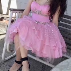 Style 3856 Sherry Hill Pink Size 2 Lace A-line Dress on Queenly