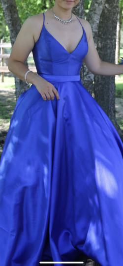 Sherri Hill Blue Size 8 Pockets Ball gown on Queenly
