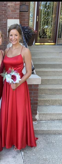 Sherri Hill Red Size 6 Side slit Dress on Queenly
