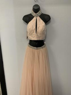 Sherri Hill Pink Size 4 Halter A-line Dress on Queenly