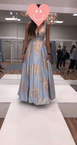 Clarisse Blue Size 0 Backless Ball gown on Queenly