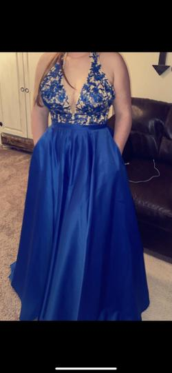Prom dress Blue Size 8 Ball gown on Queenly
