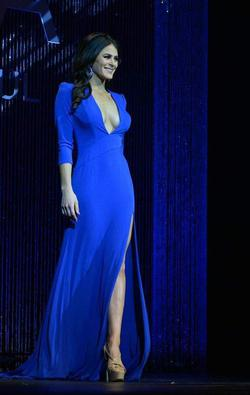 Sherri Hill Blue Size 4 Sheer Tall Height Side slit Dress on Queenly