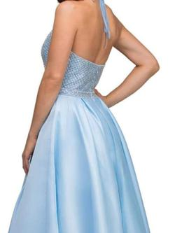 Abby Paris Blue Size 14 Pageant Halter A-line Dress on Queenly