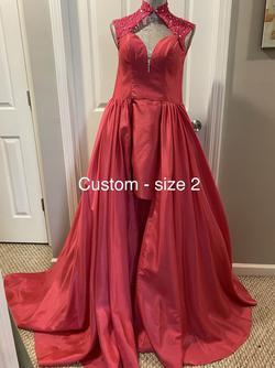 Custom Pink Size 2 Overskirt Pageant Train Dress on Queenly