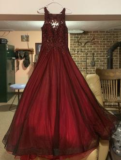 Jovani Red Size 10 Burgundy Prom Ball gown on Queenly
