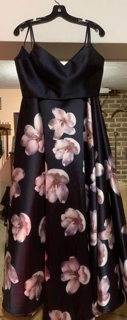 Alyce Paris Blue Size 12 Floral A-line Dress on Queenly