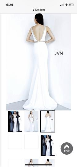 Jovani White Size 4 Prom Pageant Side slit Dress on Queenly