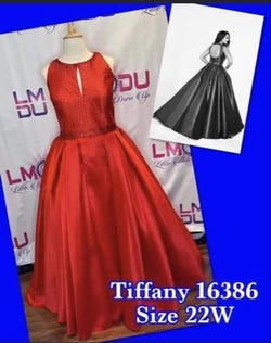 Tiffany Designs Red Size 22 Keyhole Pageant Ball gown on Queenly