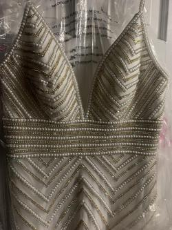 Jovani White Size 6 Prom Plunge Fully-beaded Straight Dress on Queenly
