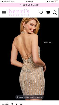Sherri Hill Gold Size 2 Jewelled Cocktail Dress on Queenly