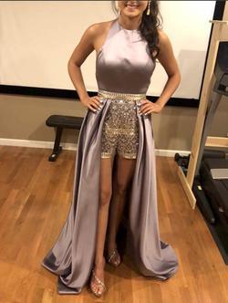 Vienna Purple Size 0 Halter Jumpsuit Dress on Queenly