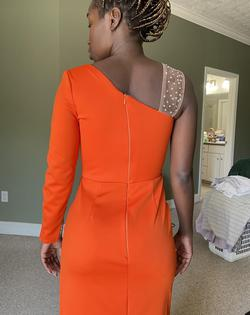 Fernando Wong Orange Size 0 Prom Pageant Side Slit Straight Dress on Queenly