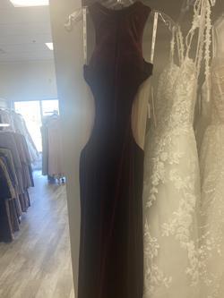 Jovani Red Size 2 Velvet Straight Dress on Queenly