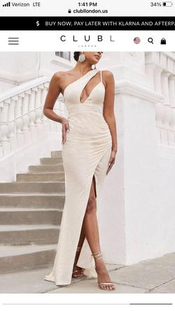 Club L London Gold Size 2 Side slit Dress on Queenly