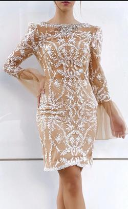 Terani Couture Nude Size 2 High Neck Mermaid Dress on Queenly